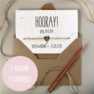 PERSONALISED Handmade Wedding Day Card, SEEDED plantable eco-friendly recycled