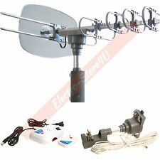 HDTV Outdoor Amplified Antenna 1080p 360° Rotor UHF VHF FM HD Digital 150 Miles