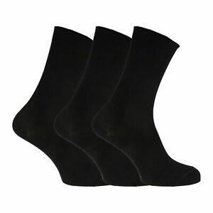 Womens/Ladies Extra Fine Silk Touch Plain Bamboo Socks (3 Pairs)