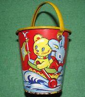 c1930  Tinplate Seaside Sand Pail Bucket by Acme England with Teddy Bear Litho