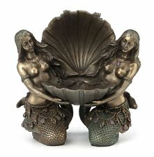 Art Nouveau Mermaids Holding Shell Jewelry Tray Collectible Statue Figure Decor