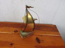 DeMott Brass Sailboat Metal Sculpture Vintage Signed On Onyx Slab Base 1970s