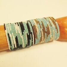 2 Turquoise Blue Wide Color Block Boho Cuff Handmade Bracelets Bali Seed Bead