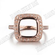 Fine Jewelry 10x10mm Cushion Semi Mount Real Diamonds Ring Setting 10k Rose Gold