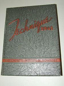 "Antique 1941 MIT Massachusetts Institute Technology ""Technique"" College Yearbook"