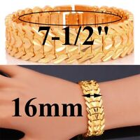 "18k Yellow Gold Bracelet 7-1/2"" Womens 16mm Wide Heart Link Chain Bracelet D723"