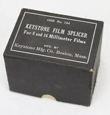 Keystone Film Splicer #734 8 & 16 Millimeter Film In Orig Box With Glass Bottles