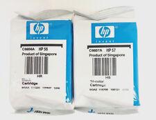 2PK Genuine Ink Cartridge HP 56 57 For C6657A C6656A PSC 2510 2410 2210 Foil Bag