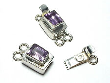 AMETHYST 925 Sterling Silver 2-strand 22mm Rectangle Box Clasp /A43