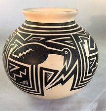 "Martin Cota Mata Ortiz Signed Handmade Pottery Bird Decoration 5.5"" tall"