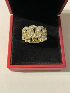 Brand New Sterling Silver Miami Cuban Link 14K Gold Plated Ring