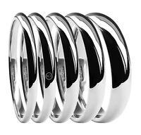 9ct White Gold Wedding Rings Court Comfort UK HM Med 2mm 3mm 4mm 5mm 6mm Bands