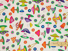 What's Bugging You Mushroom Frog Dragonfly Allover Fabric by the 1/2 Yard #1638