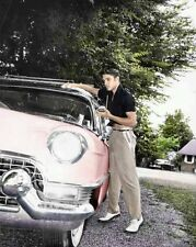 Elvis Presley - Elvis At Home Waxing The Pink Cadillac He Bought In The 1950's.