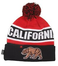 Dissizit! Cali Bear California Red Black Pom Beanie Slick LA Compton Winter Hat