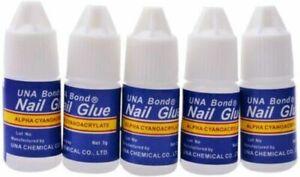 5 x 3g Nail Glue Clear Strong Adhesive Acrylic False Nails Tips Art 5 Pack New