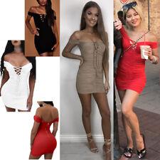 Ladies Bardot Off Shoulder Mini Dress Evening Party Shoelace Cocktail Bodycon UK