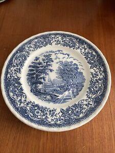 Vintage Antique Royal Tudor Ware, Dinner Plates, Blue & White, Olde England x 5