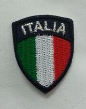 TOPPA PATCH SCUDETTO ITALIA RICAMATA ADESIVA BORDO NERO MINI PICCOLA ITALY FLAG