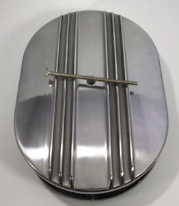 """12"""" Oval Half Finned Air Cleaner Assembly, Polished Aluminum Classic Chevy Ford"""