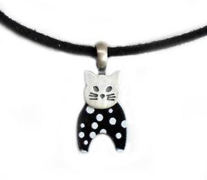 Katze 925er Silber matt  + Acryl schwarz weiss gepunkte + veganes Lederband SWc2