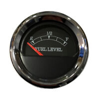 "Fuel level Gauge, 2""/52mm, black/chrome, blue LED, 0-90 ohms, 043-F-BC-90"