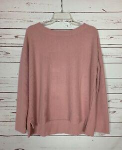 Splendid Women's M Medium Light Pink Thermal Long Sleeve Cute Spring Top Shirt
