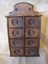 Antique Hanging 8 Drawer Stenciled Spice Cabinet Apothecary