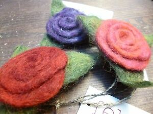 Hand Felted Fair Trade Brooch Rose Flower Petals Bright Ethical Gift CLEARANCE