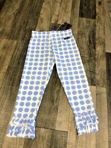 Matilda Jane House of Clouds Roya Leggings Blue Dot Tiered Ruffles  Sz. 8 NWT