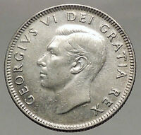 1950 CANADA King George VI of Britain Domains Silver 25 Cent Coin CARIBOU i57114