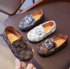 Boys Kids Peas Shoes Toddler leather Slip Flat Loafers Casual Soft Bottom Shoes