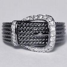 Womens Diamond Buckle Unique Custom Ring Black Rhodium Solid 14K Gold