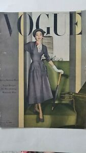 1948 Vogue magazine front cover only gray dress umbrella bird cage fashion