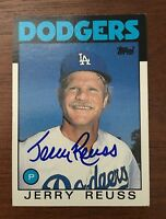 JERRY REUSS 1986 TOPPS AUTOGRAPHED SIGNED AUTO BASEBALL CARD 577 DODGERS