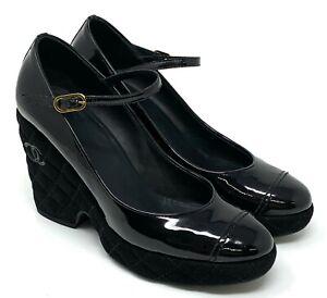 CHANEL Coco Cc G26 Matelasse Heels #38 US 7.5 Black Patent Suede Strap RankAB