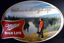 "2009 Miller High Life Brand Beer Hiker & Dog Pattern 30""l Metal Tavern Wall Sign"