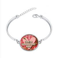 Happy Valentine's Day glass cabochon Tibet silver bangle bracelets wholesale