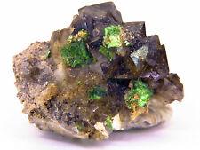 TOP. Torbernite, Smoked Quartz, Margabal Mine, Aveyron, France / 2,5 x 2 x 1,7cm