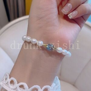 "Gorgeous Akoya White Rice Pearl Moonstone Bracelet 7.5-8"" At Daily 14K Gold P"