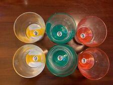 SET 6 ROCKS WHISKEY LOW BALL OLD FASHIONED GLASSES POOL BALLS BOTTOM