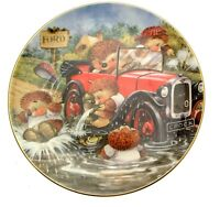 Country Companions Car Trouble Collector Plate Hedgehogs Driving Plate