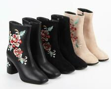 Winter Women's Embroidery Short Boots Suede Round Toe Zipper Comfort Ankle Boots