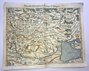 POLAND HUNGARY 1568 SEBASTIAN MUNSTER LARGE UNUSUAL ANTIQUE MAP 16TH CENTURY