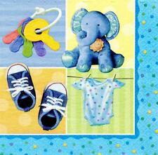 Amscan 16 Pack Blue Boy TEENY TINY Christening Birthday Luncheon Paper Napkin