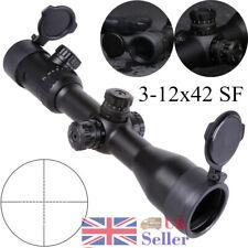 Hunting Optic 3-12x42 SF Red Green Illuminated Riflescope Airsoft Scope Sight UK