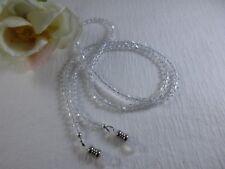 "Petite 25"" CRYSTAL CLEAR Swarovski  Crystal Beaded Eyeglass Chain~Holder~Cord"