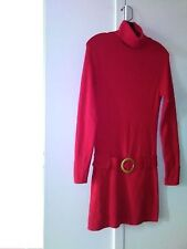 Dress, long sleeve, red, size small, elegant, with a belt, INC
