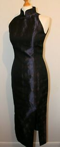 Vintage Genet Pelsone Sleeveless Navy Full Length Qipoa Cheongsam Dress Sz Small