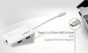 USB-C 3-Port USB 3.0 Hub with Gigabit Ethernet Port Win10 MacOS Edimax EU-4308